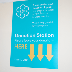 A donation station sign