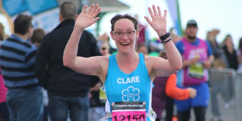 Clare running the Brighton Marathon