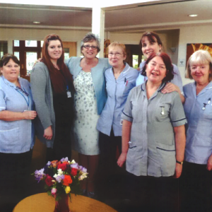 Sue Barclay with St Clare nurses