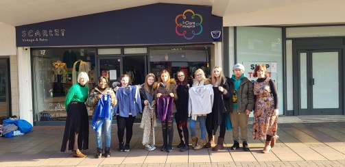 Photo 1 Harlow College students assemble outside Scarlet Vintage & Retro with their chosen garments to upcycle
