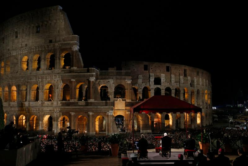 Image result for pope francis, Colosseum, photos, 2017