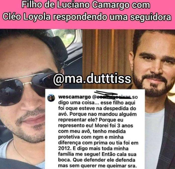 Wesley Camargo responde seguidora que falou de Luciano (Foto: Reprodução)