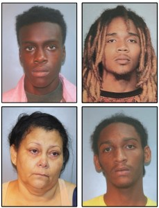 Police booking photos of the suspects whose arrests were announced Friday, clockwise from upper left, Link Baltimore, Youan Rodquez, Carl Cornelius and Bethzaida Verrios. (Photos provided by the VIPD)