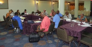Centennial Commission members meet Thursday at the Windward Passage Hotel to discuss upcoming activities and events.