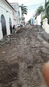 Storm damage to roads on Tortola, BVI, after Aug. 7 flooding (BVI government photo)