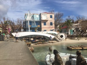 National Guard troops arrive in Cruz Bay Friday amid a scene of storm damage. (Amy Roberts photo)