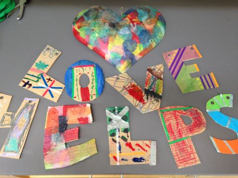 """Craft project: """"Love Helps."""""""