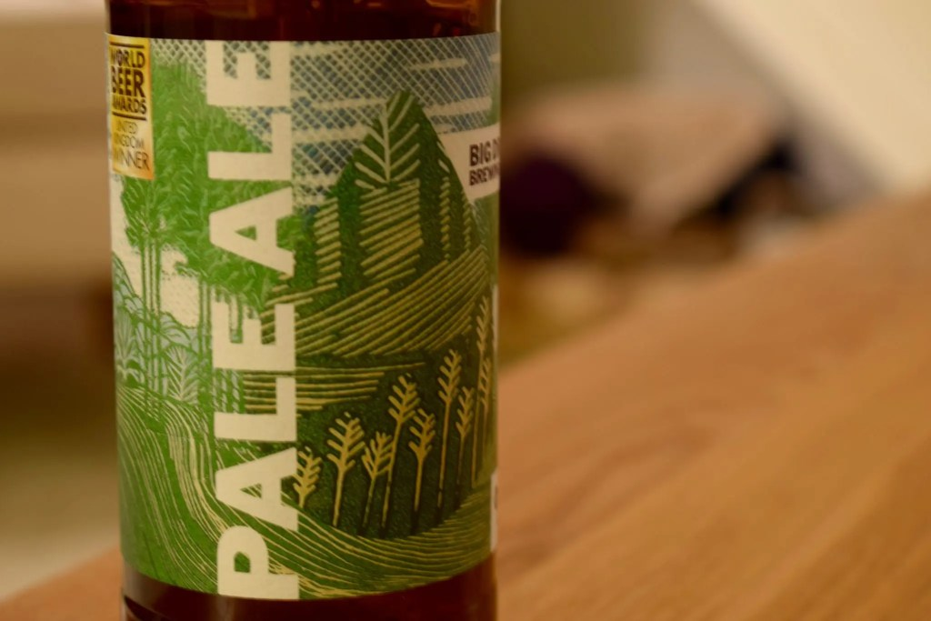 Close up of label of Big Drop Brewing's Pale Ale bottle