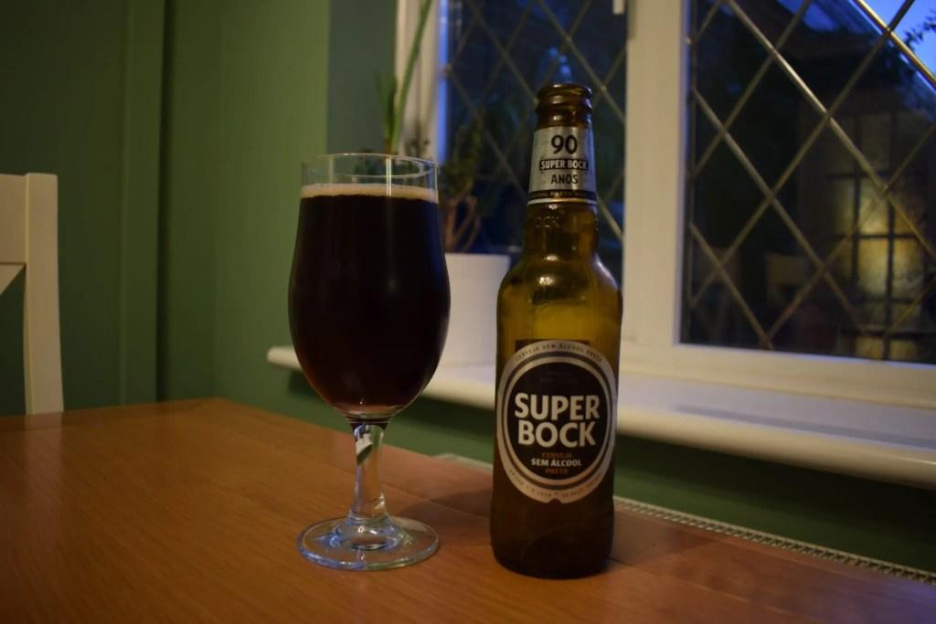 Super Bock non-alcoholic Preta stout - bottle and glass