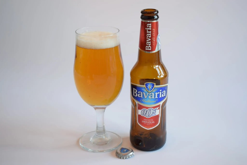 Bottle of Bavaria 0.0 non-alcoholic pilsner beer with glass