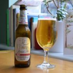 Bitburger Drive alcohol-free lager bottle and glass