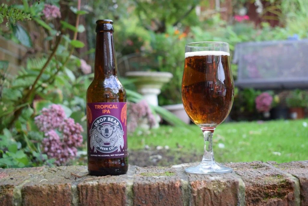 Drop Bear Beer Co 'Tropical IPA' review - low-alcohol (0.5%) India pale ale bottle and glass