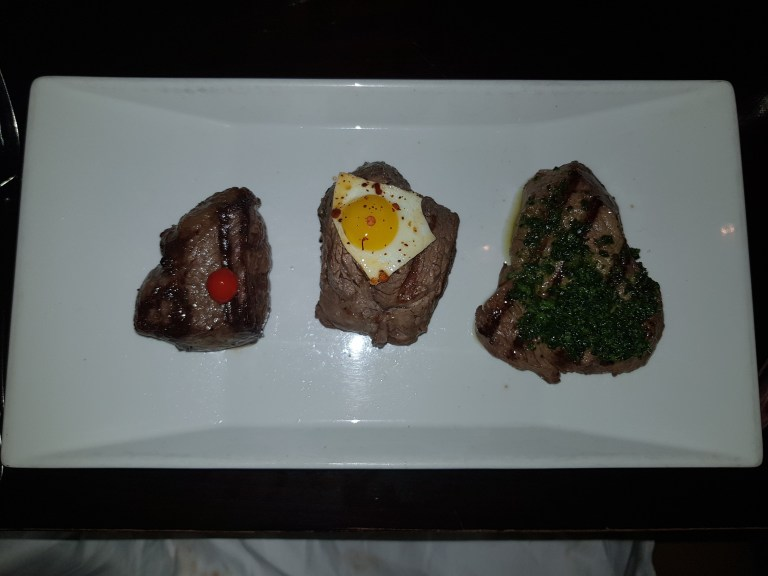 An image of Omnino tasting steaks: (From Left to Right: Australian Wagyu, Fillet, Churrasco Rump)