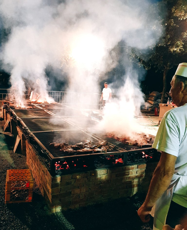 An image of the grill in action at Sagra della Bistecca