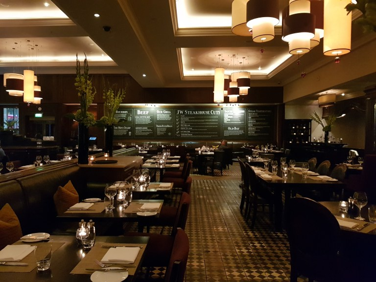 A photo of the interior of JW Steakhouse
