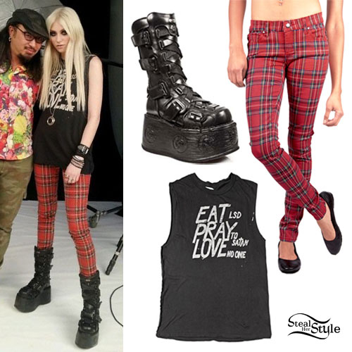 Taylor Momsen Goth Boots Red Plaid Pants Eat Pray Love