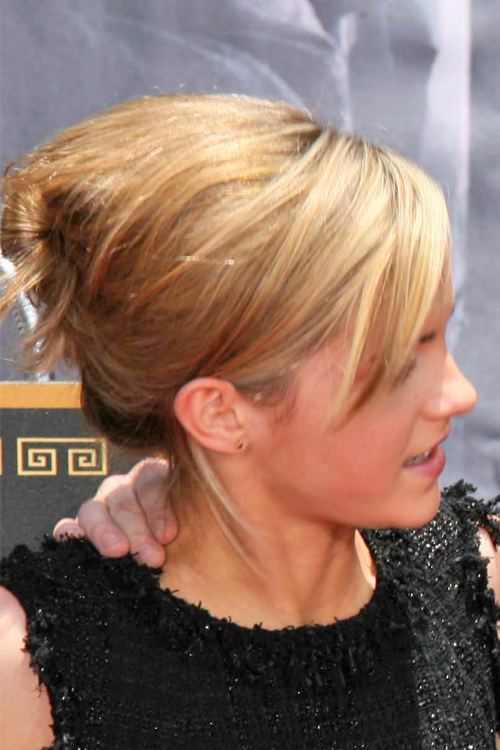 Emma Watson Straight Honey Blonde Sideswept Bangs Updo