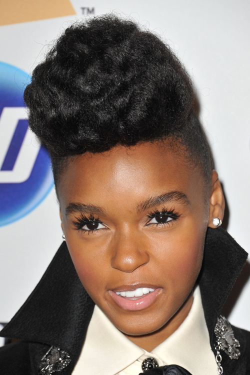 Janelle Monae Curly Black Pompadour Hairstyle Steal Her
