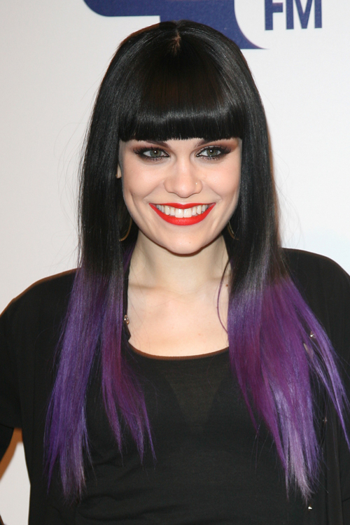 Jessie J Straight Black Blunt Bangs Ombr Hairstyle