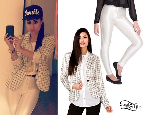 Natalia Kills: Grid Blazer, White Pants