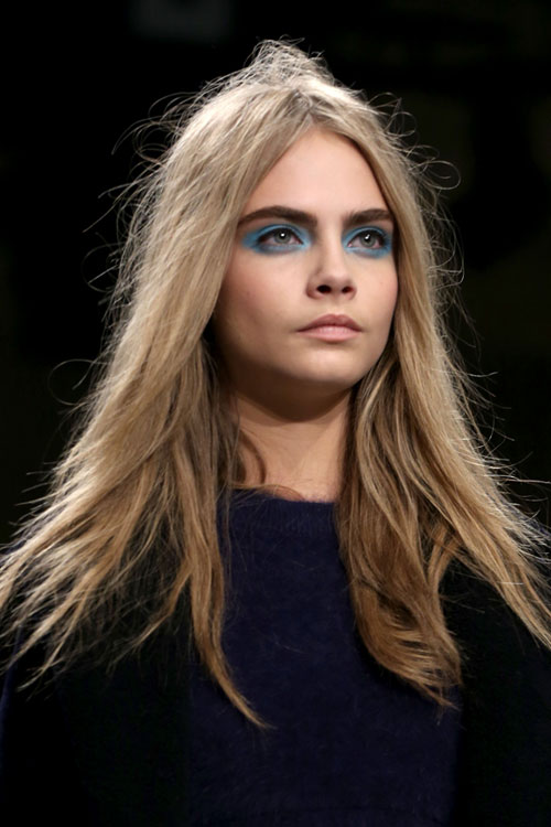 Cara Delevingne Straight Ash Blonde Messy Hairstyle
