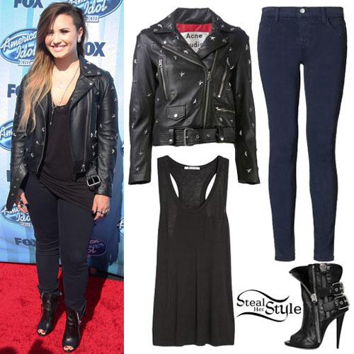 Demi Lovato: Black Tank, Studded Jacket