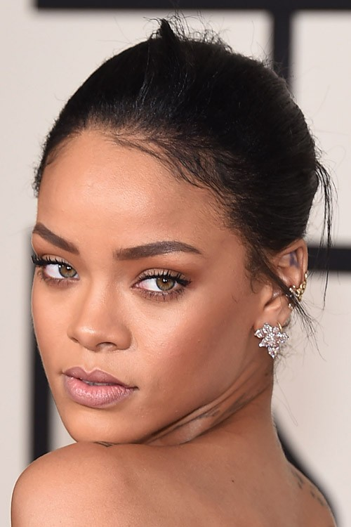 Rihanna Straight Updo Hairstyle Steal Her Style