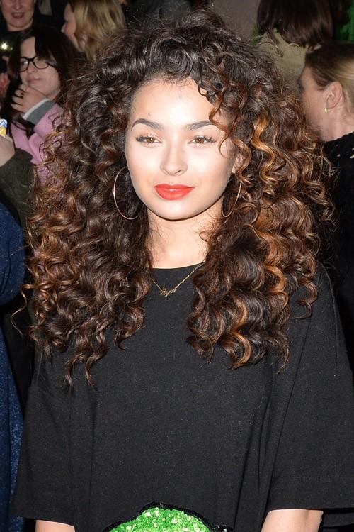 Ella Eyre Curly Dark Brown Afro Peek A Boo Highlights