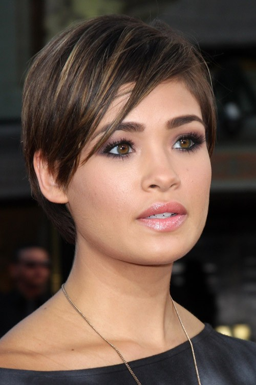 Nicole Anderson Straight Dark Brown Peek A Boo Highlights