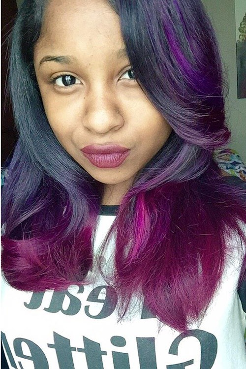 Reginae Carter Wavy Black Ombr Two Tone Hairstyle