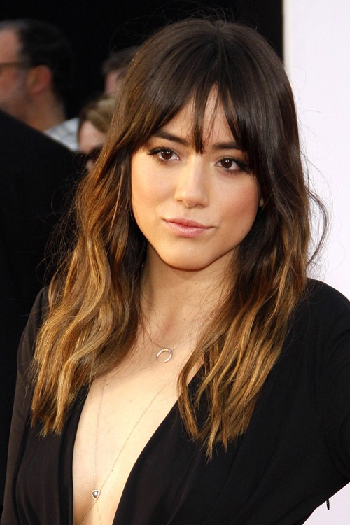 Chloe Bennet Wavy Medium Brown Curved Bangs Ombr
