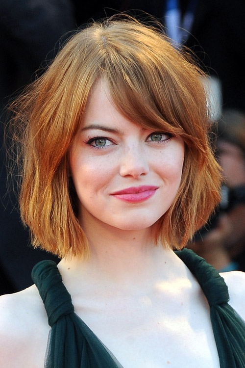 Emma Stone Straight Bob Sideswept Bangs Hairstyle Steal