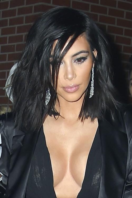 Kim Kardashian Straight Black Messy Hairstyle Steal Her
