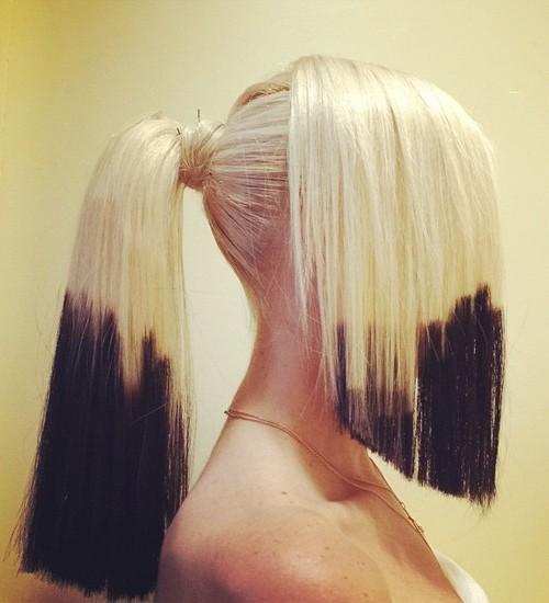 Gwen Stefani Straight Platinum Blonde Dip Dyed Half Up