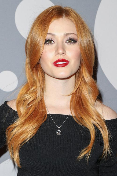Katherine Mcnamara Wavy Ginger Angled Barrel Curls