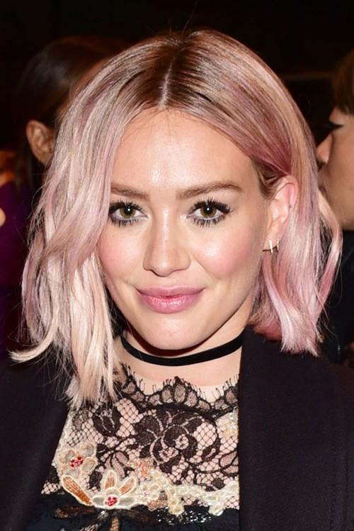 Hilary Duff Wavy Pink Bob Dark Roots Uneven Color
