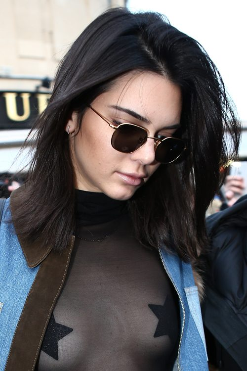 Kendall Jenner Straight Black Blunt Cut Bob Hairstyle