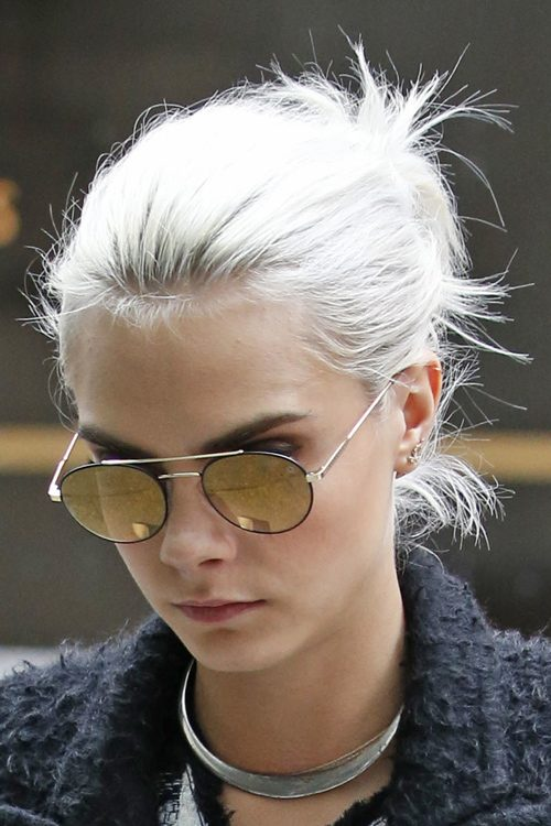 Cara Delevingne Straight Silver Messy Ponytail Hairstyle
