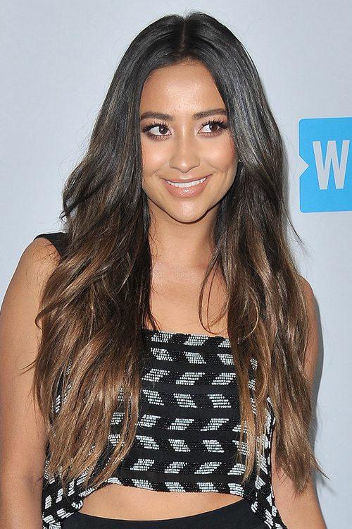Shay Mitchell Wavy Dark Brown Angled Loose Waves Ombr