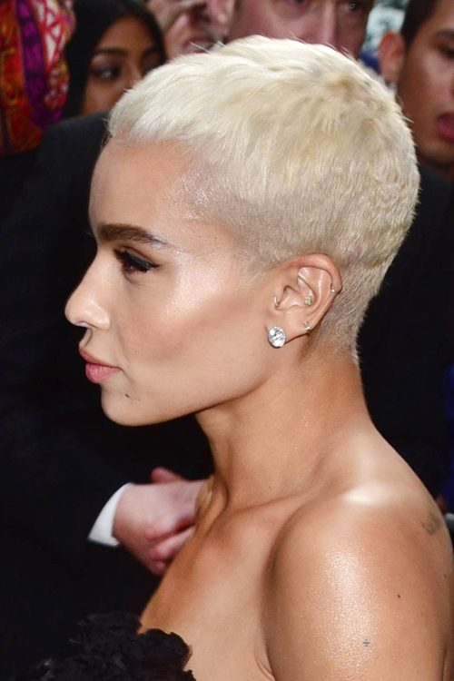 Zo Kravitz Straight Silver Pixie Cut Uneven Color