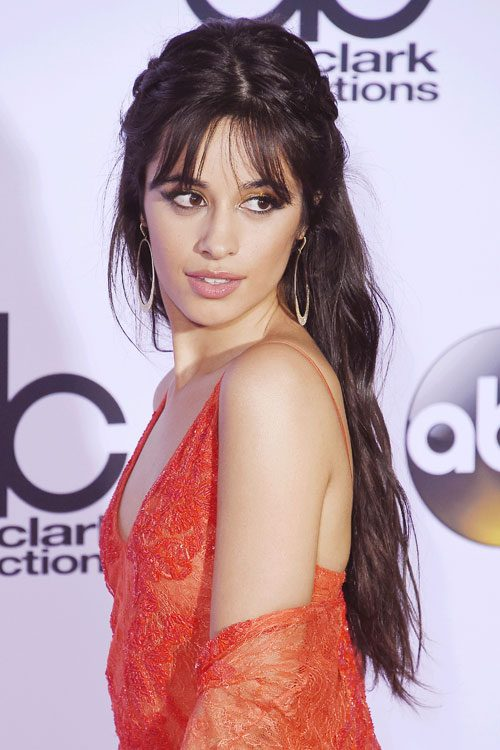 Camila Cabello Wavy Dark Brown Pinned Back Thin Bangs