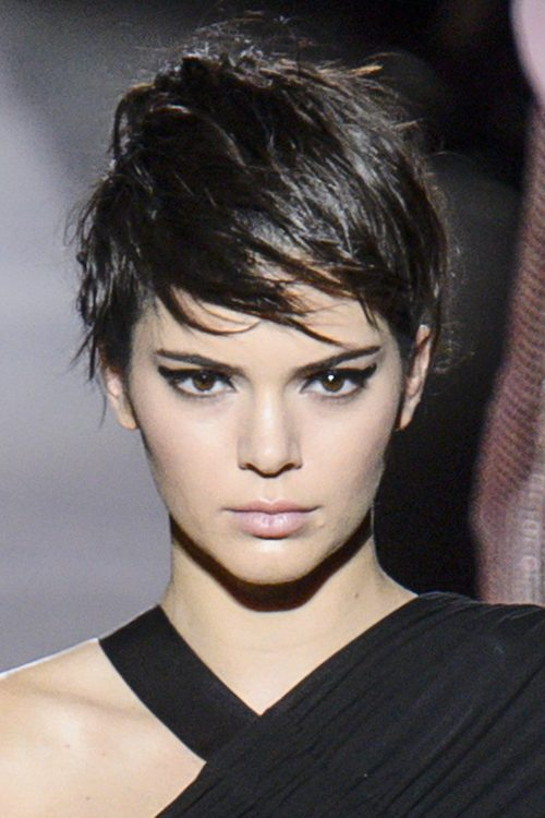 Kendall Jenner Straight Dark Brown Pixie Cut Hairstyle