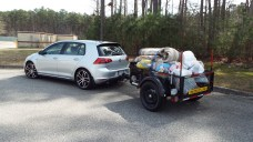The trailer's first payload for a trip to the dump...
