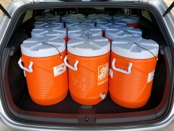 I can fit 13 water coolers in the hatchback area...