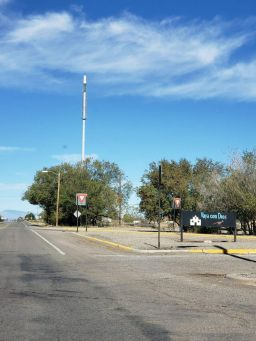 This was a weird sight in Carrizozo, NM. Someone told me that it's an antenna, which will be disguised as a flagpole when it's finished...