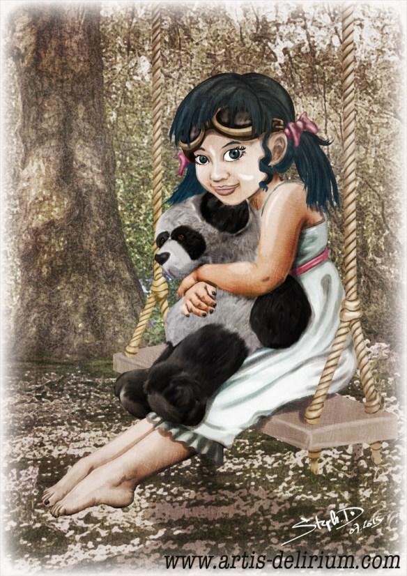 Cassie posant dans le jardin familiale avec son panda en peluche