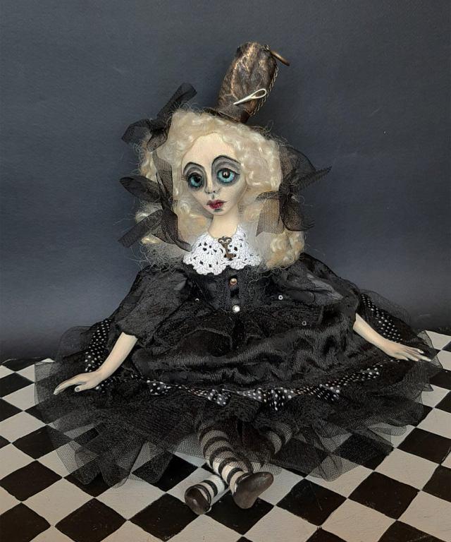 Steampunk Alice In Wonderland And White Rabbit Art Doll. 2
