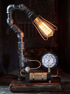 Handmade Industrial:Steampunk table lamp with Boiler and Gauge Detail 1