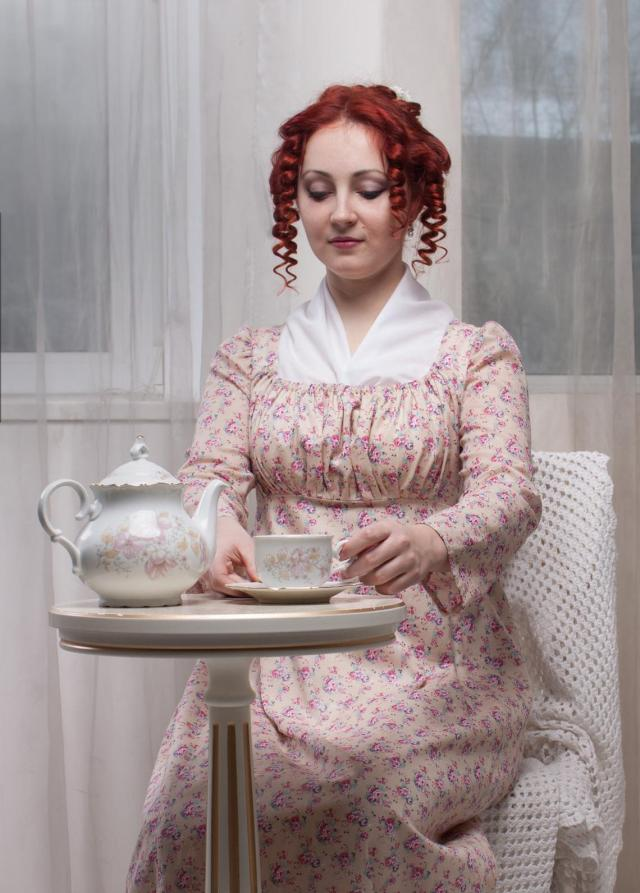 Regency Morning Dress, 1800s Home Gown