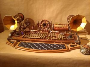 Set of steampunk keyboard, mouse, speakers and camera